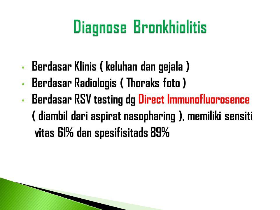 • Berdasar Klinis ( keluhan dan gejala ) • Berdasar Radiologis ( Thoraks foto ) • Berdasar RSV testing dg Direct Immunofluorosence ( diambil dari aspi