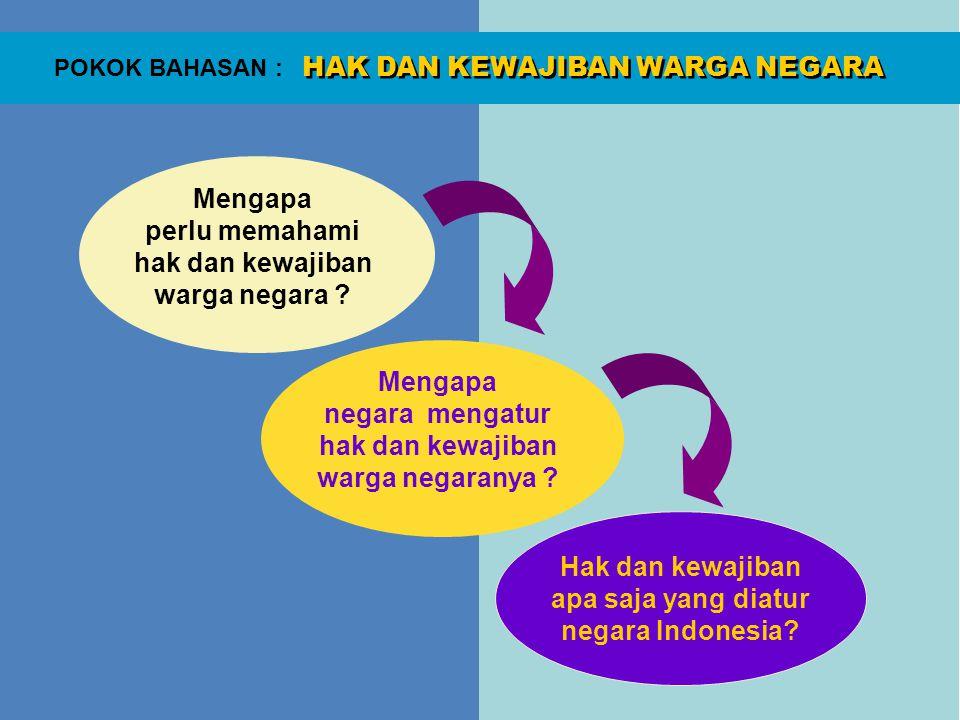 HAK DAN KEWAJIBAN WARGA NEGARA POKOK BAHASAN : 1.Rakyat yang permanen 2.Wilayah yang tertentu 3.Pemerintahan dan 4.Kapasitas untuk terjun kedalam hubungan dengan negara lain.