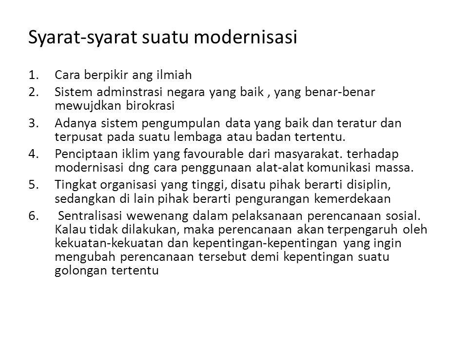 • Proses modernisasi dapat menibulkan masalah sosial.
