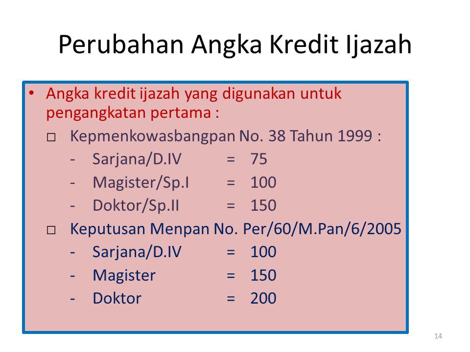 Perubahan Angka Kredit Ijazah • Angka kredit ijazah yang digunakan untuk pengangkatan pertama : □Kepmenkowasbangpan No. 38 Tahun 1999 : -Sarjana/D.IV=
