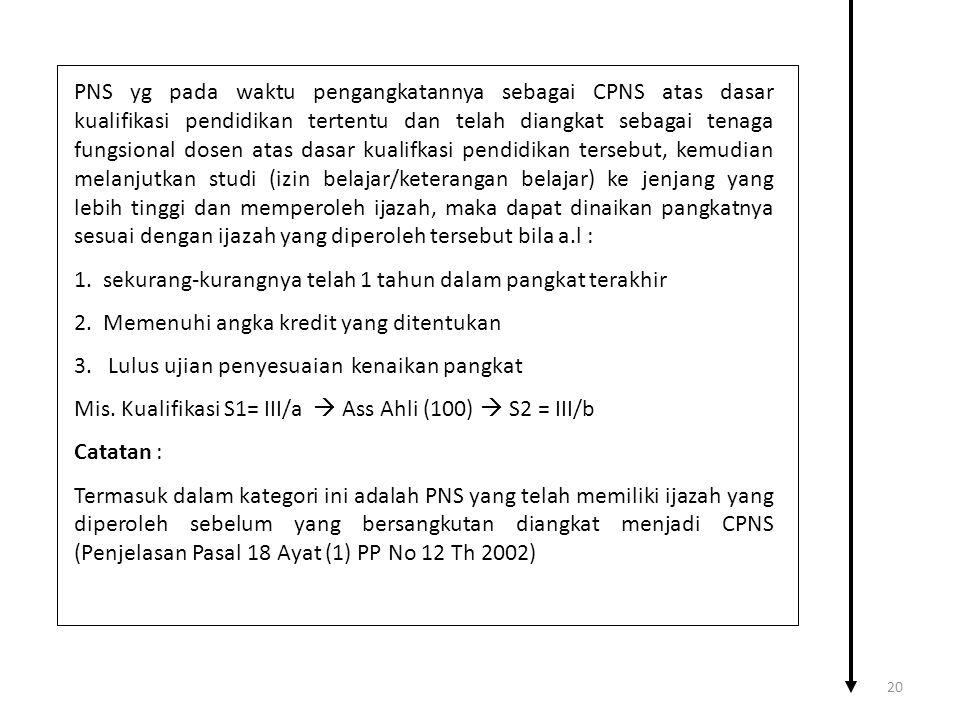 PNS yg pada waktu pengangkatannya sebagai CPNS atas dasar kualifikasi pendidikan tertentu dan telah diangkat sebagai tenaga fungsional dosen atas dasa