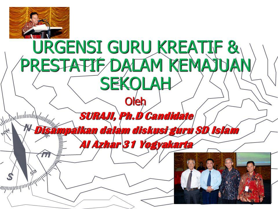 URGENSI GURU KREATIF & PRESTATIF DALAM KEMAJUAN SEKOLAH Oleh SURAJI, Ph.D Candidate Disampaikan dalam diskusi guru SD Islam Al Azhar 31 Yogyakarta
