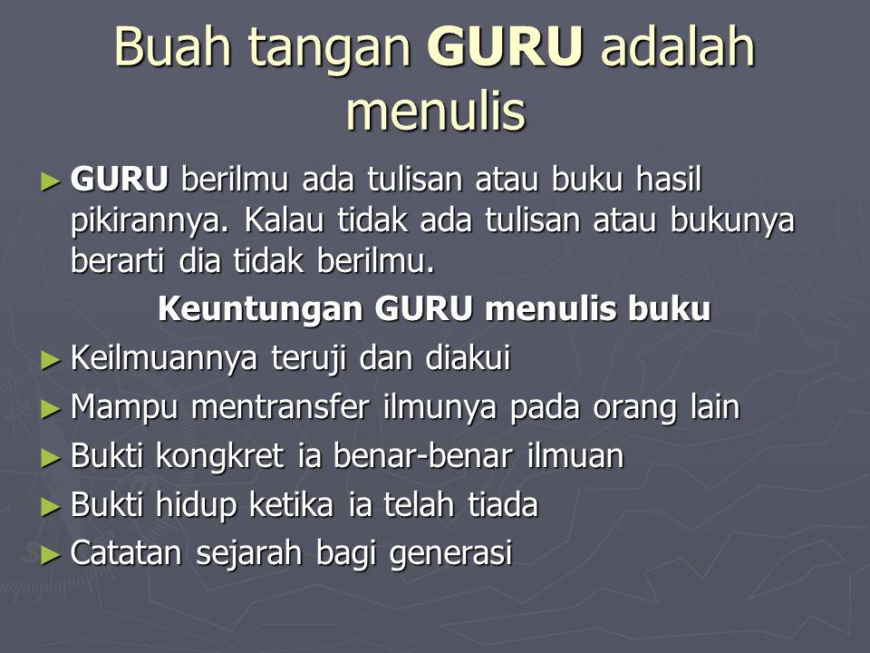 Buah tangan GURU adalah menulis ► GURU berilmu ada tulisan atau buku hasil pikirannya. Kalau tidak ada tulisan atau bukunya berarti dia tidak berilmu.