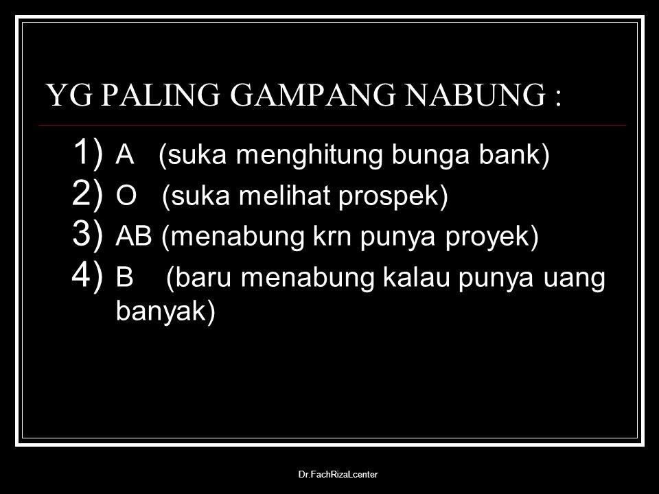 Dr.FachRizaLcenter YG PALING GAMPANG NABUNG : 1) A (suka menghitung bunga bank) 2) O (suka melihat prospek) 3) AB (menabung krn punya proyek) 4) B (ba