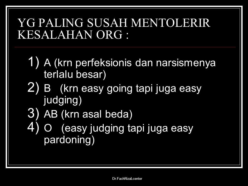 Dr.FachRizaLcenter PENYAKIT YG MUDAH MENYERANG : A (stress, majenun/linglung) B (lemah terhadap virus influenza, paru-paru) O (gangguan pencernaan dan mudah kena sakit perut) AB (kanker dan serangan jantung, mudah kaget)