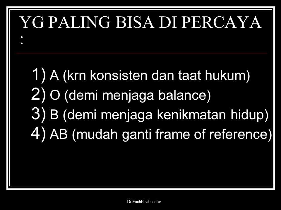 Dr.FachRizaLcenter YG PALING BISA DI PERCAYA : 1) A (krn konsisten dan taat hukum) 2) O (demi menjaga balance) 3) B (demi menjaga kenikmatan hidup) 4)