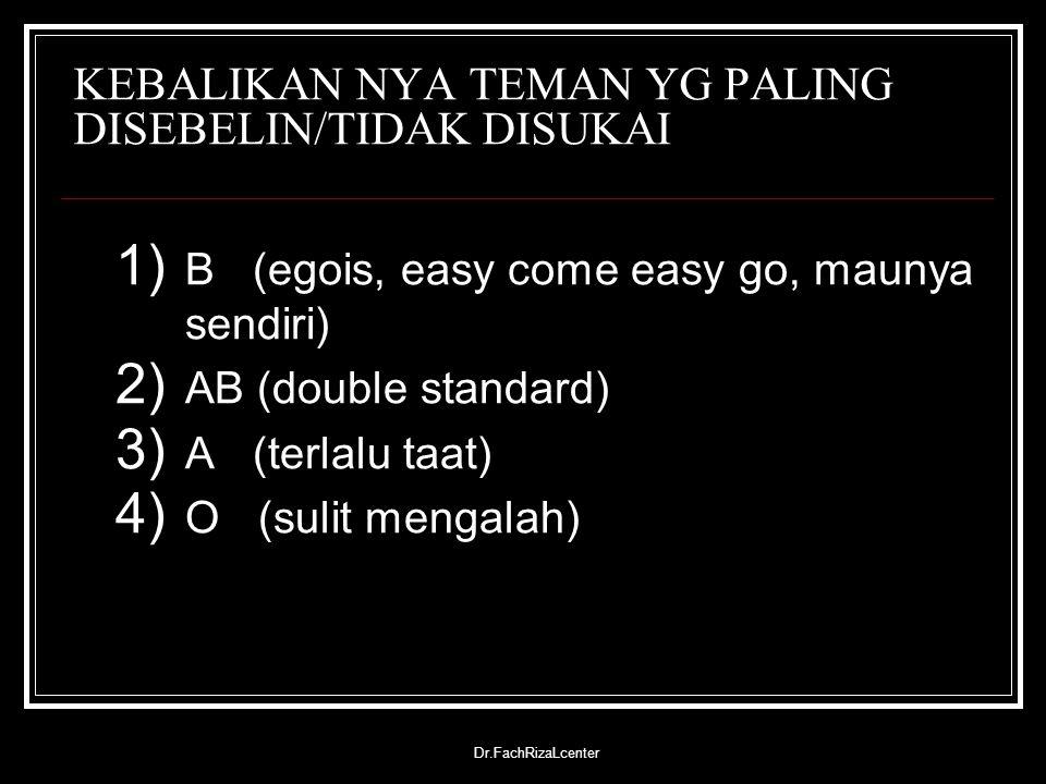 Dr.FachRizaLcenter KEBALIKAN NYA TEMAN YG PALING DISEBELIN/TIDAK DISUKAI 1) B (egois, easy come easy go, maunya sendiri) 2) AB (double standard) 3) A