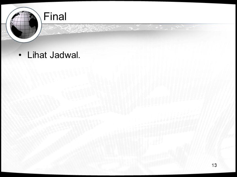 13 Final •Lihat Jadwal.