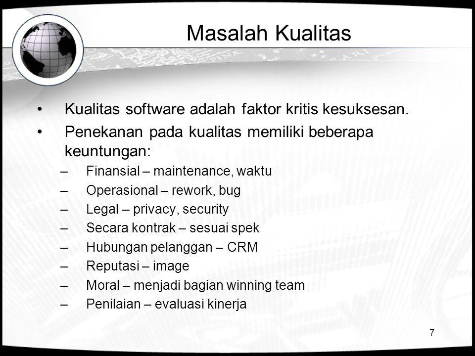 7 Masalah Kualitas •Kualitas software adalah faktor kritis kesuksesan. •Penekanan pada kualitas memiliki beberapa keuntungan: –Finansial – maintenance