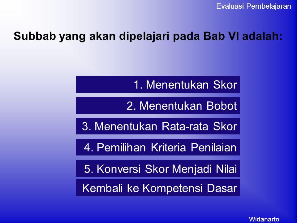 Widanarto Evaluasi Pembelajaran Subbab yang akan dipelajari pada Bab VI adalah: 1.