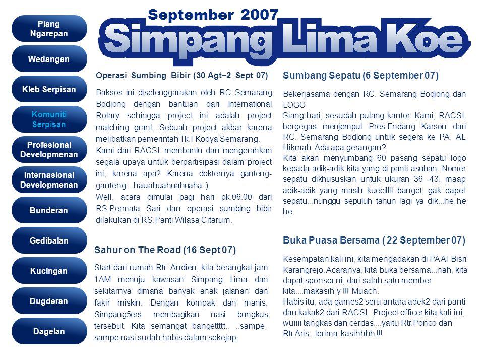 September 2007 Komunity Wedangan Kleb Serpisan Komuniti Serpisan Profesional Developmenan Gedibalan Bunderan Kucingan Dugderan Internasional Developme