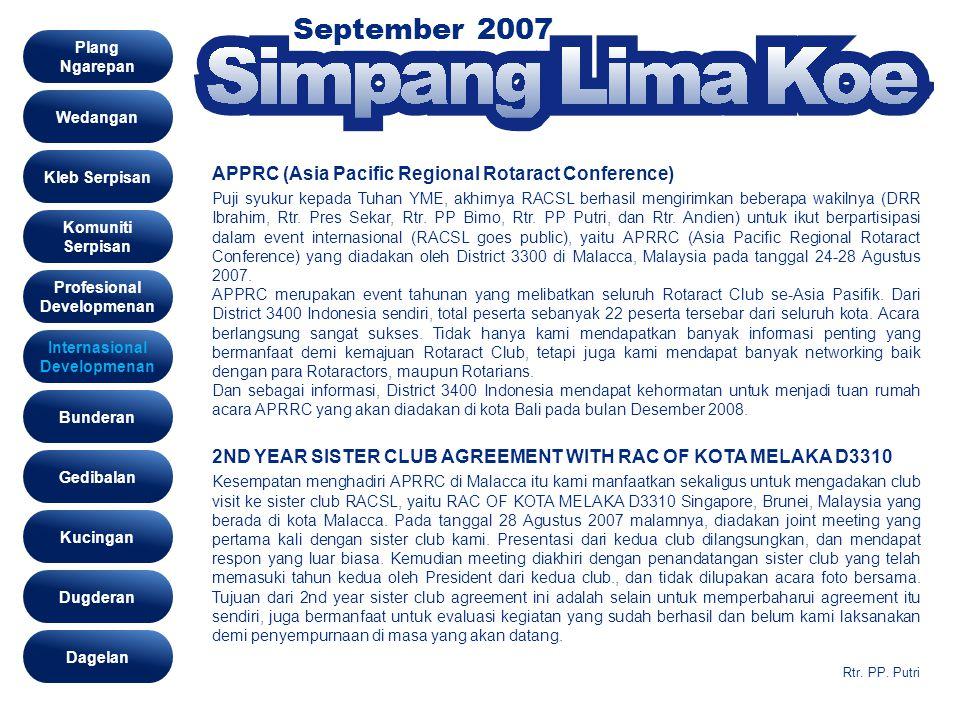 September 2007 Int Ser Wedangan Kleb Serpisan Komuniti Serpisan Profesional Developmenan Gedibalan Bunderan Kucingan Dugderan Internasional Developmen
