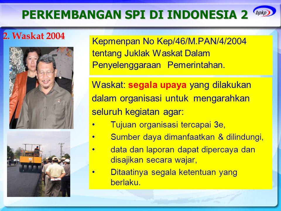 Kepmenpan No Kep/46/M.PAN/4/2004 tentang Juklak Waskat Dalam Penyelenggaraan Pemerintahan. 2. Waskat 2004 PERKEMBANGAN SPI DI INDONESIA 2 Waskat: sega