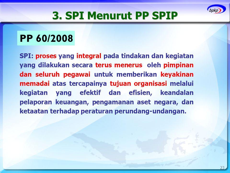 3. SPI Menurut PP SPIP 23 PP 60/2008 SPI: proses yang integral pada tindakan dan kegiatan yang dilakukan secara terus menerus oleh pimpinan dan seluru