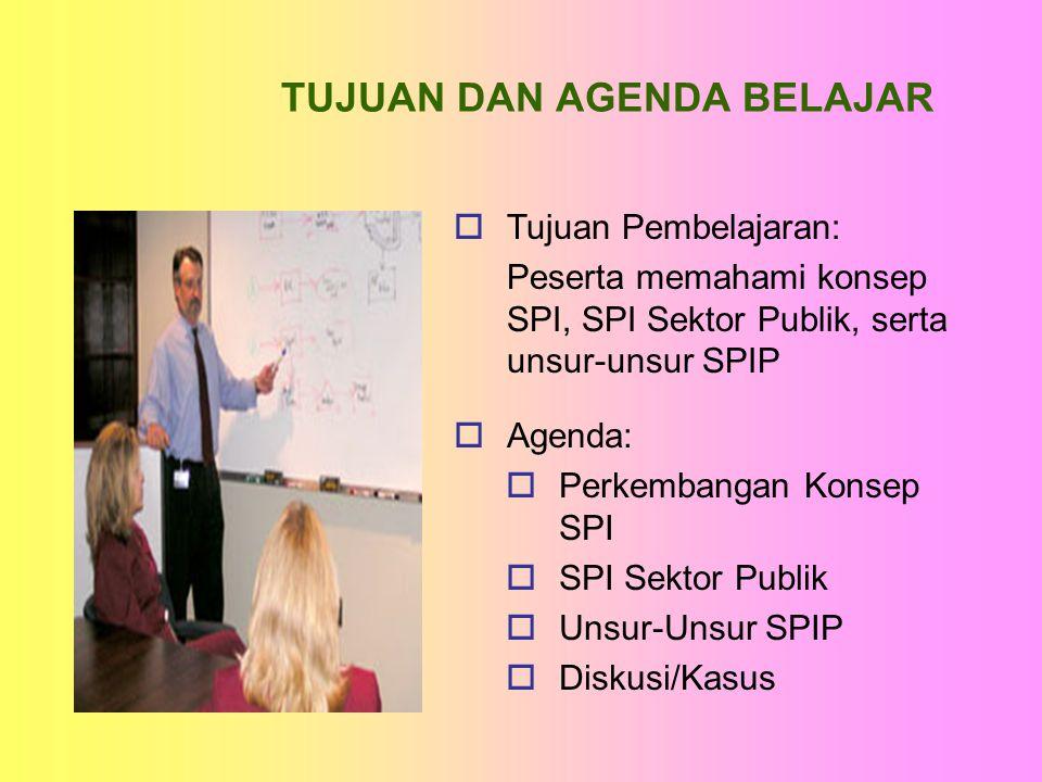 TUJUAN DAN AGENDA BELAJAR  Agenda:  Perkembangan Konsep SPI  SPI Sektor Publik  Unsur-Unsur SPIP  Diskusi/Kasus  Tujuan Pembelajaran: Peserta me