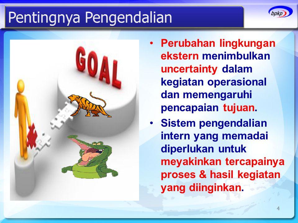 •Perubahan lingkungan ekstern menimbulkan uncertainty dalam kegiatan operasional dan memengaruhi pencapaian tujuan. •Sistem pengendalian intern yang m