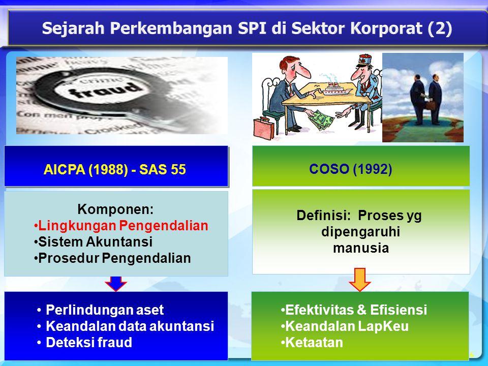 Definisi: Proses yg dipengaruhi manusia 6 COSO (1992) •Perlindungan aset •Keandalan data akuntansi •Deteksi fraud •Efektivitas & Efisiensi •Keandalan