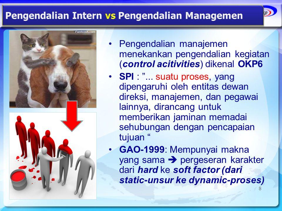 """•Pengendalian manajemen menekankan pengendalian kegiatan (control acitivities) dikenal OKP6 •SPI : """"... suatu proses, yang dipengaruhi oleh entitas de"""