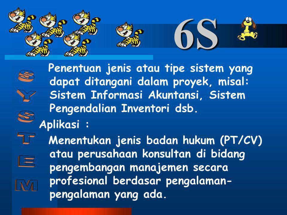 6S Penentuan jenis atau tipe sistem yang dapat ditangani dalam proyek, misal: Sistem Informasi Akuntansi, Sistem Pengendalian Inventori dsb. Aplikasi