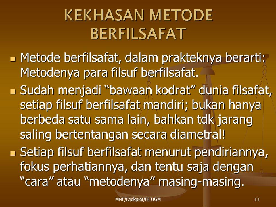"""KEKHASAN METODE BERFILSAFAT  Metode berfilsafat, dalam prakteknya berarti: Metodenya para filsuf berfilsafat.  Sudah menjadi """"bawaan kodrat"""" dunia f"""