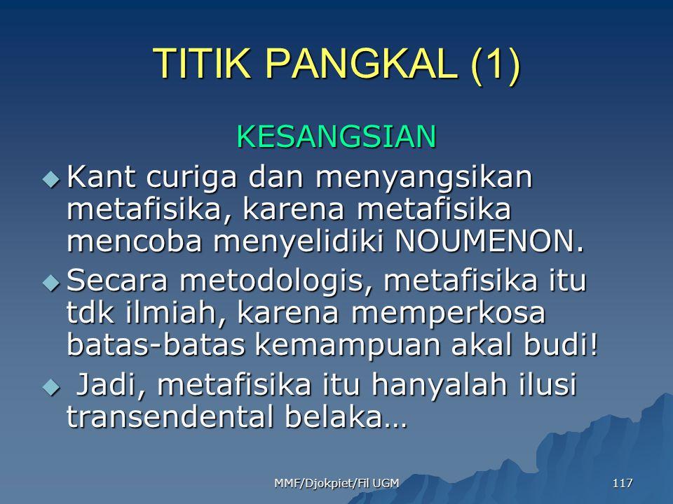 TITIK PANGKAL (1) KESANGSIAN  Kant curiga dan menyangsikan metafisika, karena metafisika mencoba menyelidiki NOUMENON.  Secara metodologis, metafisi