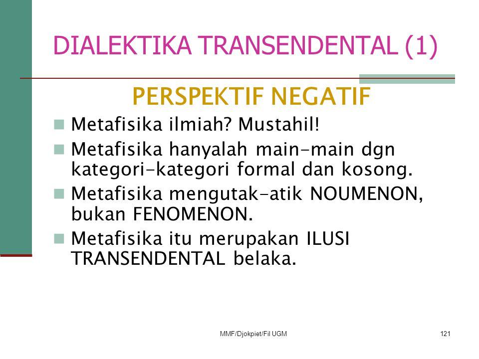 DIALEKTIKA TRANSENDENTAL (1) PERSPEKTIF NEGATIF  Metafisika ilmiah? Mustahil!  Metafisika hanyalah main-main dgn kategori-kategori formal dan kosong