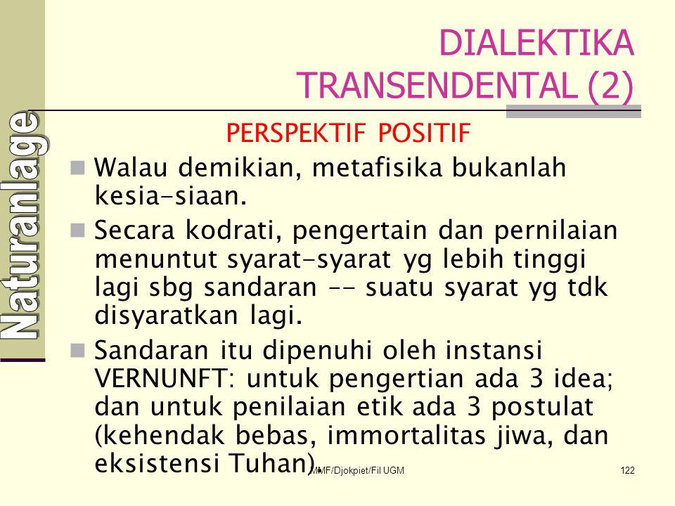 DIALEKTIKA TRANSENDENTAL (2) PERSPEKTIF POSITIF  Walau demikian, metafisika bukanlah kesia-siaan.  Secara kodrati, pengertain dan pernilaian menuntu