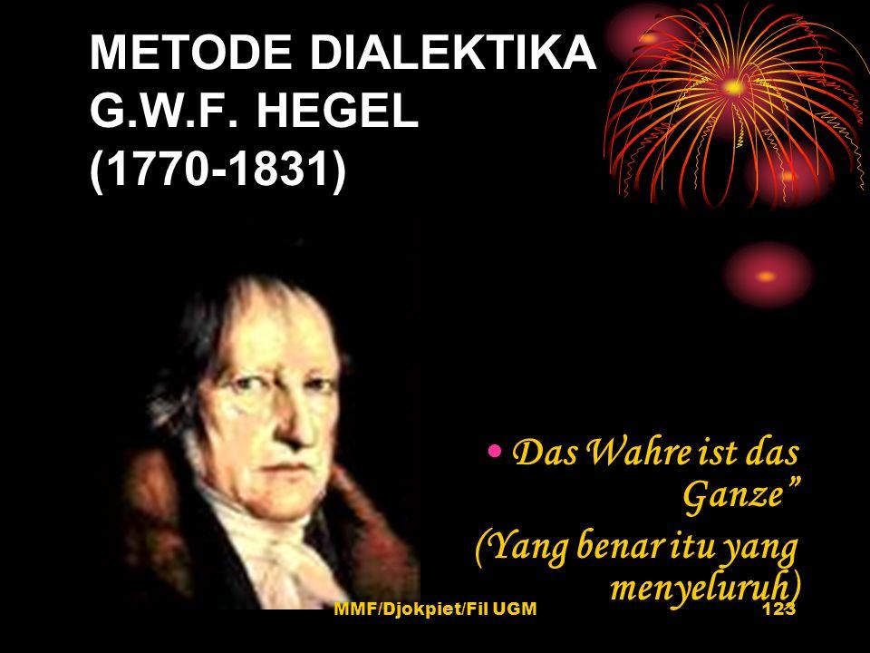 """METODE DIALEKTIKA G.W.F. HEGEL (1770-1831) •Das Wahre ist das Ganze"""" (Yang benar itu yang menyeluruh) 123MMF/Djokpiet/Fil UGM"""