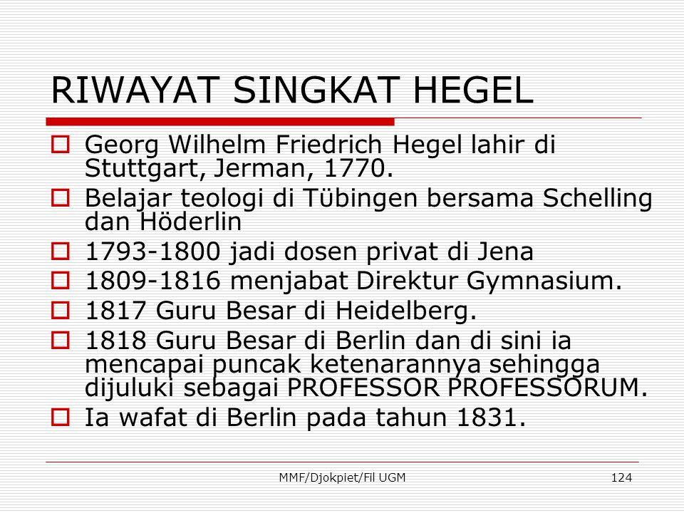 RIWAYAT SINGKAT HEGEL  Georg Wilhelm Friedrich Hegel lahir di Stuttgart, Jerman, 1770.  Belajar teologi di Tϋbingen bersama Schelling dan Höderlin 