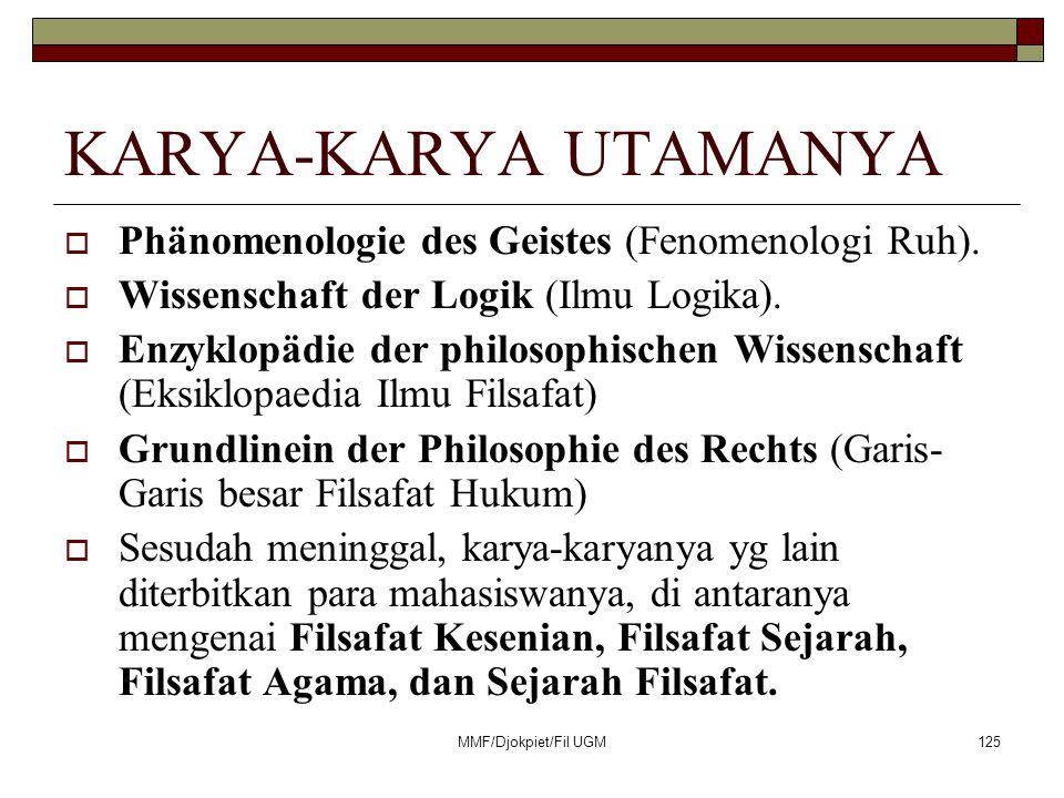 KARYA-KARYA UTAMANYA  Phänomenologie des Geistes (Fenomenologi Ruh).  Wissenschaft der Logik (Ilmu Logika).  Enzyklopädie der philosophischen Wisse