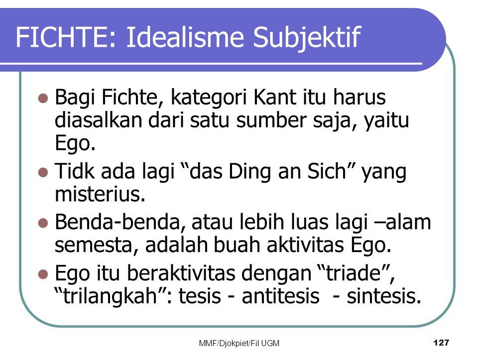 """FICHTE: Idealisme Subjektif  Bagi Fichte, kategori Kant itu harus diasalkan dari satu sumber saja, yaitu Ego.  Tidk ada lagi """"das Ding an Sich"""" yang"""