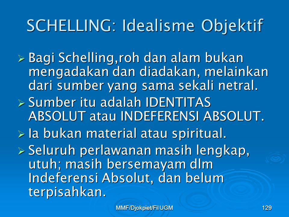 SCHELLING: Idealisme Objektif  Bagi Schelling,roh dan alam bukan mengadakan dan diadakan, melainkan dari sumber yang sama sekali netral.  Sumber itu