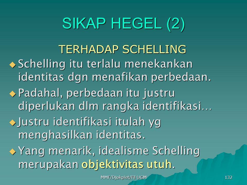 SIKAP HEGEL (2) TERHADAP SCHELLING TERHADAP SCHELLING  Schelling itu terlalu menekankan identitas dgn menafikan perbedaan.  Padahal, perbedaan itu j