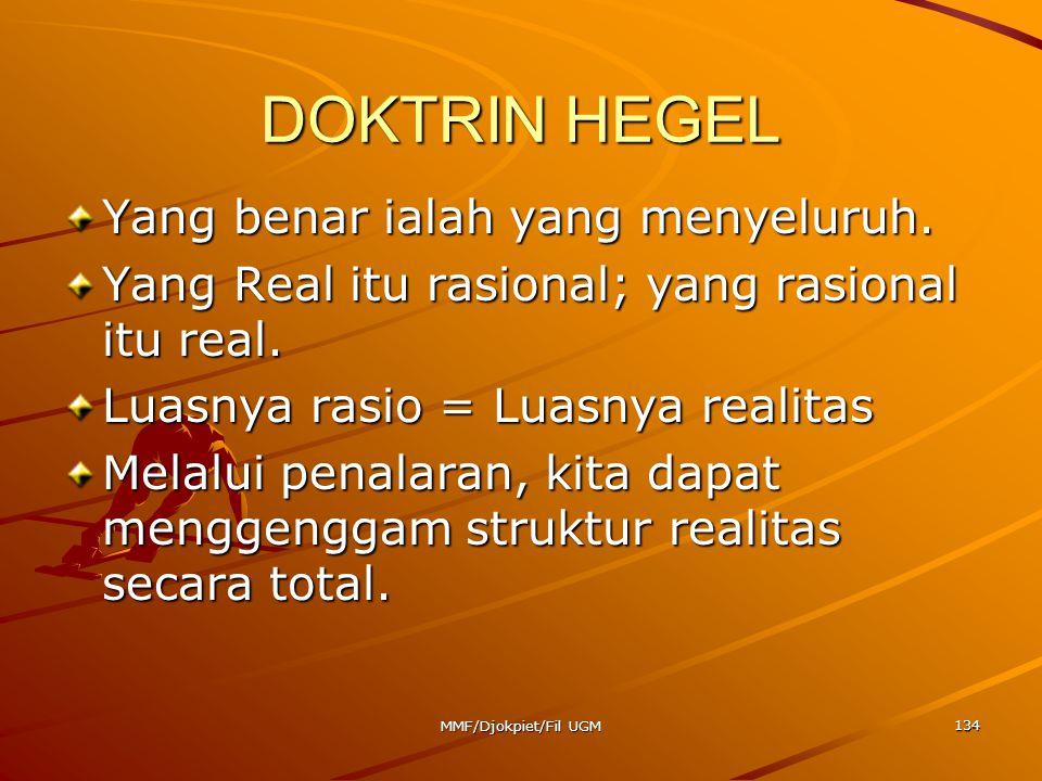 DOKTRIN HEGEL Yang benar ialah yang menyeluruh. Yang Real itu rasional; yang rasional itu real. Luasnya rasio = Luasnya realitas Melalui penalaran, ki