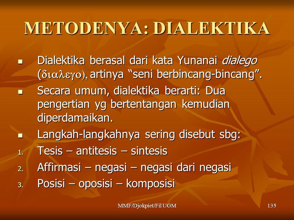 """METODENYA: DIALEKTIKA  Dialektika berasal dari kata Yunanai dialego (  artinya """"seni berbincang-bincang"""".  Secara umum, dialektika berarti"""