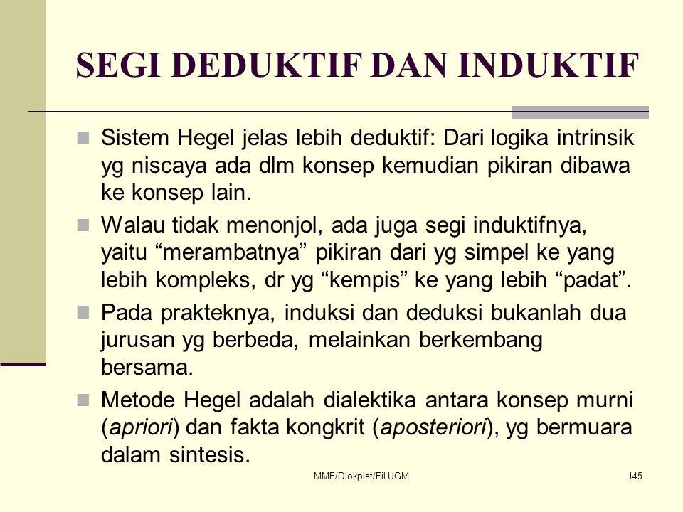 SEGI DEDUKTIF DAN INDUKTIF  Sistem Hegel jelas lebih deduktif: Dari logika intrinsik yg niscaya ada dlm konsep kemudian pikiran dibawa ke konsep lain