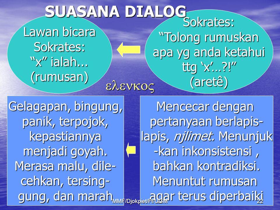 "Lawan bicara Sokrates: ""x"" ialah... (rumusan) Sokrates: ""Tolong rumuskan apa yg anda ketahui ttg 'x'…?!"" (aretê) Gelagapan, bingung, panik, terpojok,"