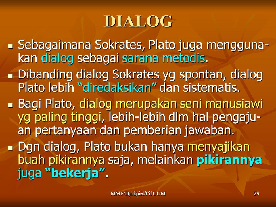 """DIALOG  Sebagaimana Sokrates, Plato juga mengguna- kan dialog sebagai sarana metodis.  Dibanding dialog Sokrates yg spontan, dialog Plato lebih """"dir"""