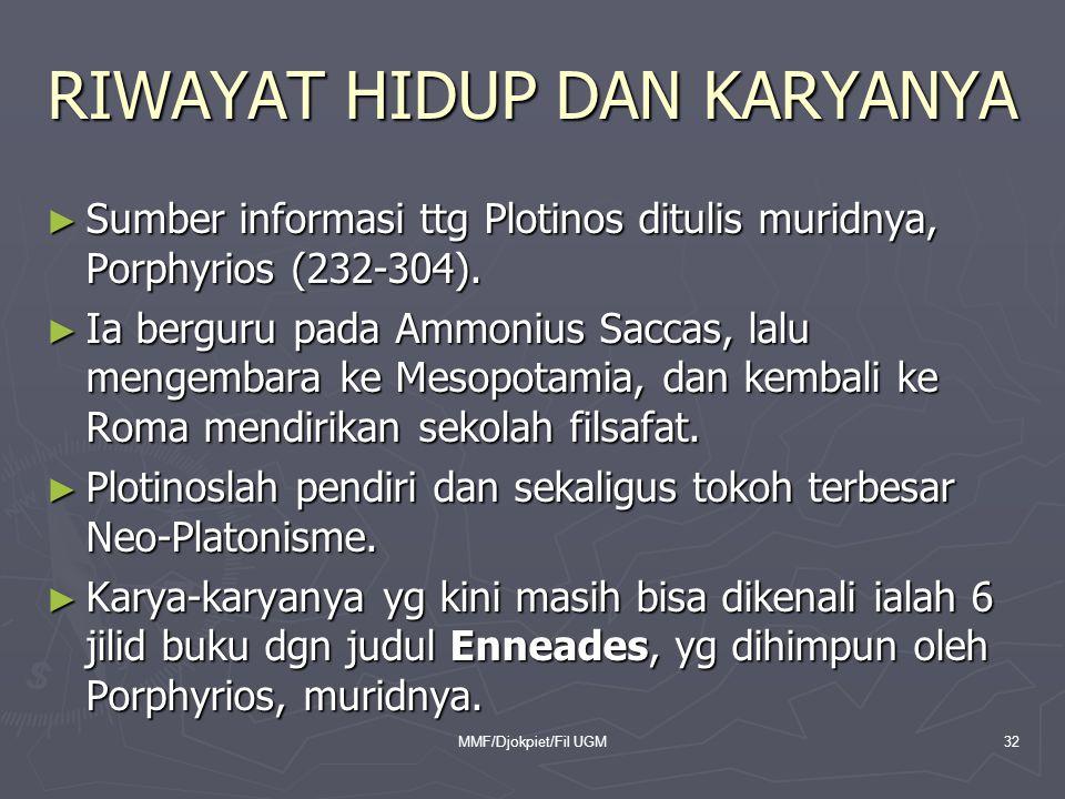 RIWAYAT HIDUP DAN KARYANYA ► Sumber informasi ttg Plotinos ditulis muridnya, Porphyrios (232-304). ► Ia berguru pada Ammonius Saccas, lalu mengembara