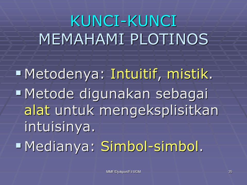 KUNCI-KUNCI MEMAHAMI PLOTINOS  Metodenya: Intuitif, mistik.  Metode digunakan sebagai alat untuk mengeksplisitkan intuisinya.  Medianya: Simbol-sim