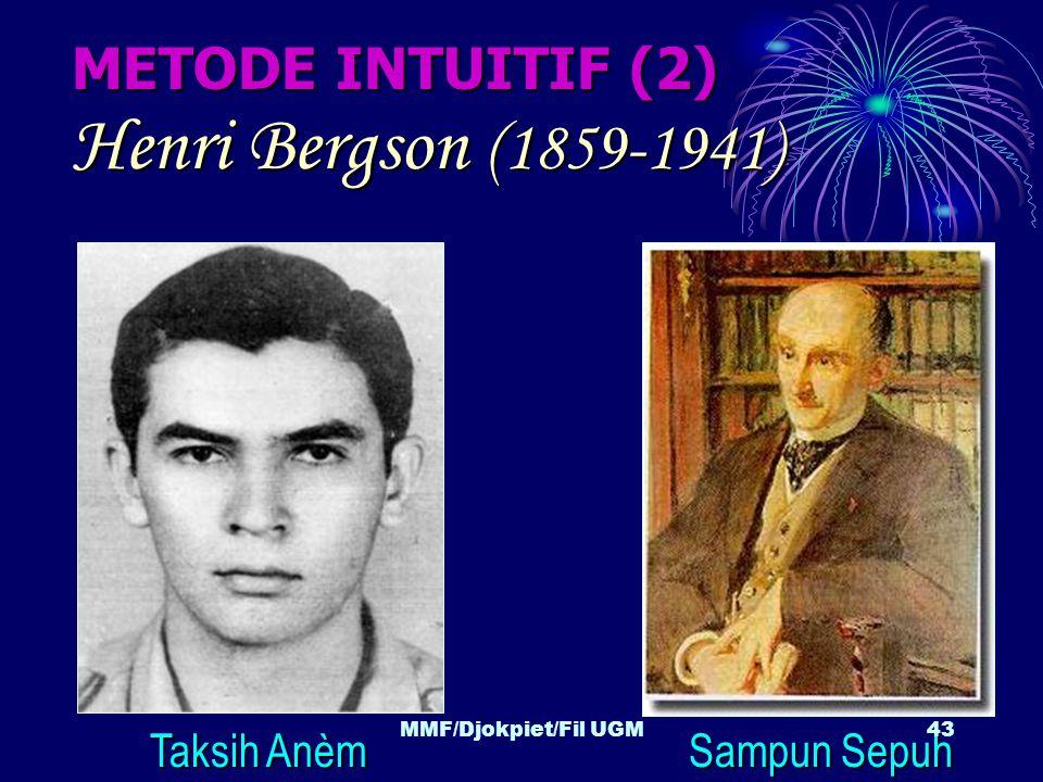 METODE INTUITIF (2) Henri Bergson (1859-1941) Taksih Anèm Sampun Sepuh 43MMF/Djokpiet/Fil UGM