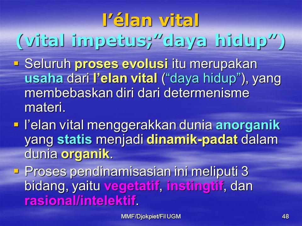 """l'élan vital (vital impetus;""""daya hidup"""")  Seluruh proses evolusi itu merupakan usaha dari l'elan vital (""""daya hidup""""), yang membebaskan diri dari de"""