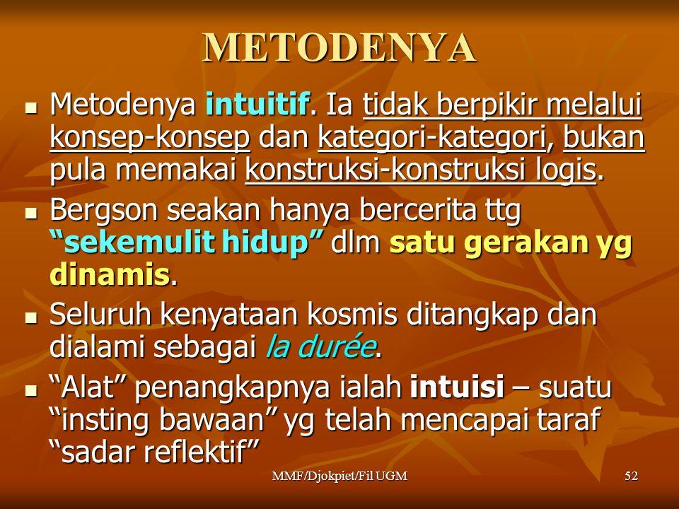 METODENYA  Metodenya intuitif. Ia tidak berpikir melalui konsep-konsep dan kategori-kategori, bukan pula memakai konstruksi-konstruksi logis.  Bergs