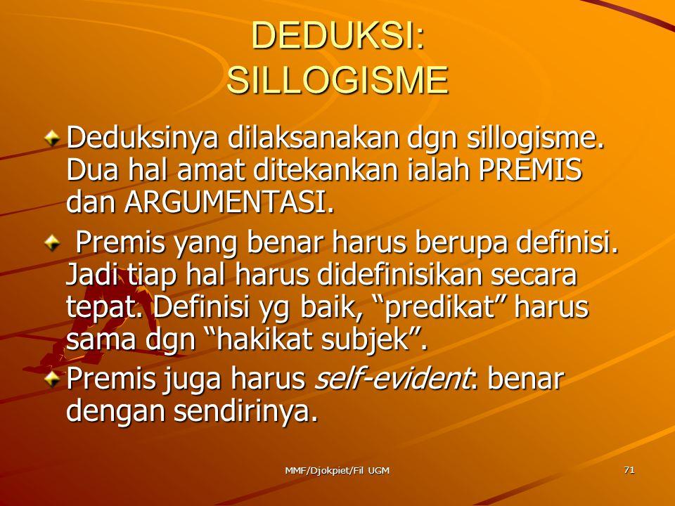 DEDUKSI: SILLOGISME Deduksinya dilaksanakan dgn sillogisme. Dua hal amat ditekankan ialah PREMIS dan ARGUMENTASI. Premis yang benar harus berupa defin