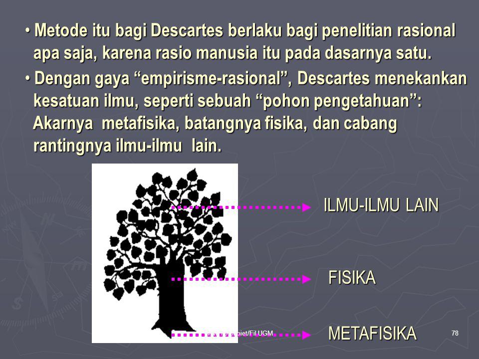 • Metode itu bagi Descartes berlaku bagi penelitian rasional apa saja, karena rasio manusia itu pada dasarnya satu. apa saja, karena rasio manusia itu