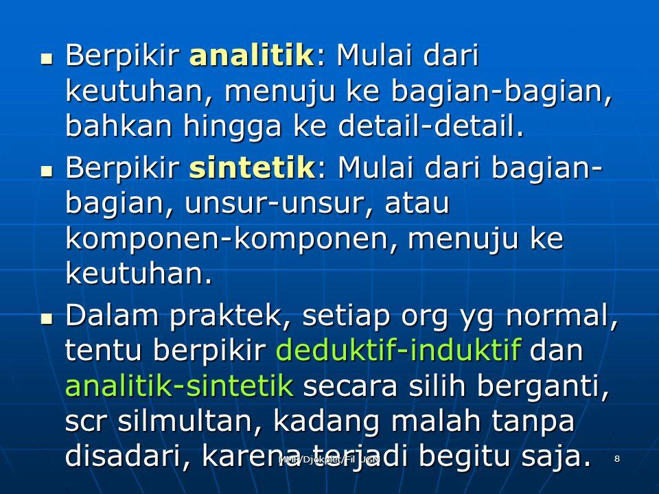 TITIK PANGKAL METODIS (1) SKEPTISISME  Sikap skeptis itu perlu, tetapi tidak usah seradikal Descartes.