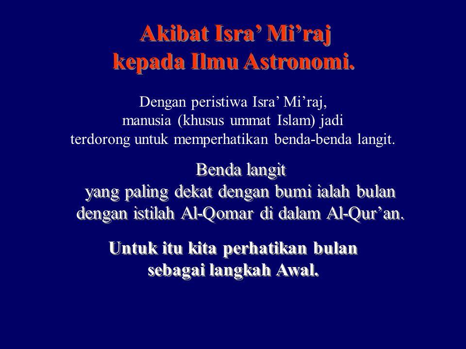 Akibat Isra' Mi'raj kepada Ilmu Astronomi. Akibat Isra' Mi'raj kepada Ilmu Astronomi. Dengan peristiwa Isra' Mi'raj, manusia (khusus ummat Islam) jadi