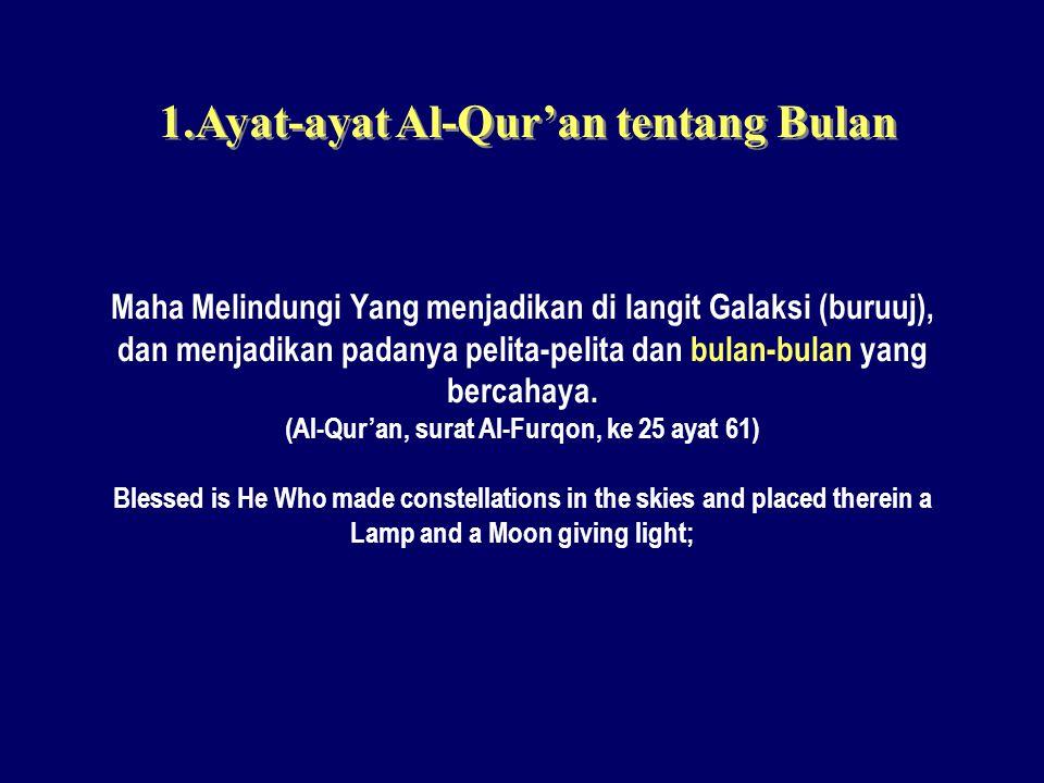 1.Ayat-ayat Al-Qur'an tentang Bulan Maha Melindungi Yang menjadikan di langit Galaksi (buruuj), dan menjadikan padanya pelita-pelita dan bulan-bulan y