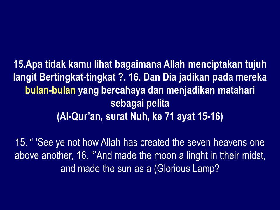 15.Apa tidak kamu lihat bagaimana Allah menciptakan tujuh langit Bertingkat-tingkat ?. 16. Dan Dia jadikan pada mereka bulan-bulan yang bercahaya dan