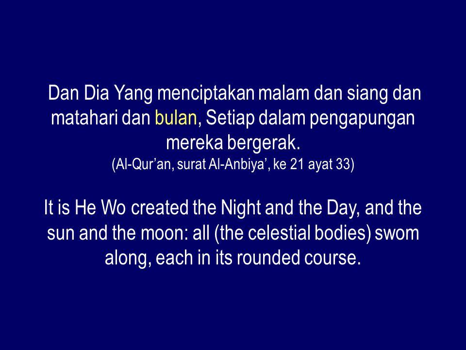 Dan Dia Yang menciptakan malam dan siang dan matahari dan bulan, Setiap dalam pengapungan mereka bergerak. (Al-Qur'an, surat Al-Anbiya', ke 21 ayat 33